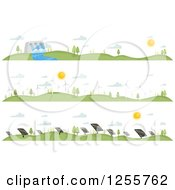 Clipart Of Landscapes Showing Different Renewable Energy Sources Royalty Free Vector Illustration