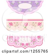 Clipart Of Floral Shabby Chic Borders Royalty Free Vector Illustration
