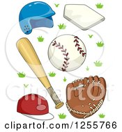Clipart Of Basebal Accessories Royalty Free Vector Illustration