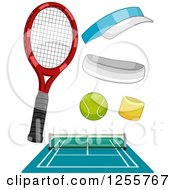Clipart Of A Tennis Court And Accessories Royalty Free Vector Illustration
