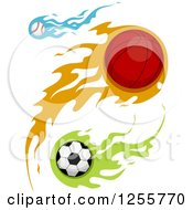 Basebal Basketball And Soccer Ball With Flames