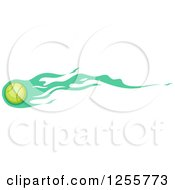 Tennis Ball With Green Flames