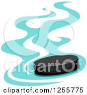 Clipart Of A Hockey Puck With Blue Flames Royalty Free Vector Illustration by BNP Design Studio