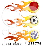 Clipart Of A Flaming Basketball Soccer Ball And Volleyball Royalty Free Vector Illustration by BNP Design Studio