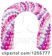 Clipart Of A Party Arch Of Purple Pink And White Balloons Royalty Free Vector Illustration