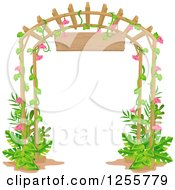 Clipart Of A Garden Trellis With A Pink Floral Vine And Sign Royalty Free Vector Illustration