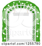 Clipart Of A White Lattice Garden Trellis Arch With A Flowering Bush Royalty Free Vector Illustration