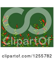 Clipart Of A Green Christmas Background With Poinsettia Branches Royalty Free Vector Illustration by BNP Design Studio