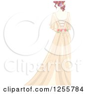 Clipart Of A Rear View Of A Bride In A Shabby Chic Dress Royalty Free Vector Illustration