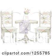 Clipart Of A Floral Shabby Chic Table And Chairs Royalty Free Vector Illustration