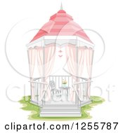Clipart Of A Shabby Chic Gazebo With A Chair And Table Royalty Free Vector Illustration