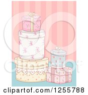 Clipart Of Floral Shabby Chic Gifts Over Stripes Royalty Free Vector Illustration