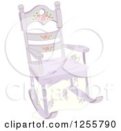 Clipart Of A Shabby Chic Rocking Chair And Shawl Royalty Free Vector Illustration by BNP Design Studio