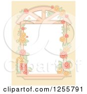 Clipart Of A Shabby Chic Window With A Rose Vine Royalty Free Vector Illustration