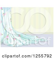 Clipart Of A Chabby Chic Curtain Over Striped Wallpaper Royalty Free Vector Illustration by BNP Design Studio
