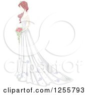 Clipart Of A Shabby Chic Bride In A Gown Royalty Free Vector Illustration