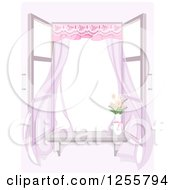 Shabby Chic Window With A Breeze Flowers And Drapes