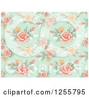 Clipart Of A Vintage Seamless Green Rose Background Pattern Royalty Free Vector Illustration