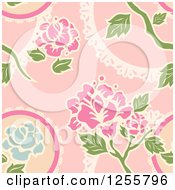 Clipart Of A Vintage Seamless Pink Rose Background Pattern Royalty Free Vector Illustration