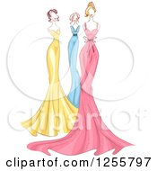 Clipart Of Fashion Mannequins In Colorful Gowns Royalty Free Vector Illustration