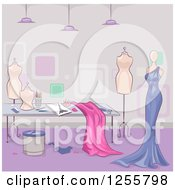 Clipart Of A Dress Maker Shop With Fabrig And Mannequins Royalty Free Vector Illustration