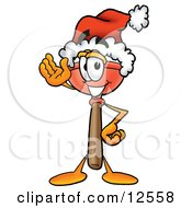 Sink Plunger Mascot Cartoon Character Wearing A Santa Hat And Waving by Toons4Biz