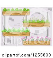Clipart Of A Vertical Garden With Plants Royalty Free Vector Illustration