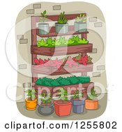 Clipart Of A Vertical Garden And Potted Plants Royalty Free Vector Illustration