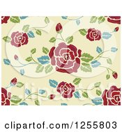 Clipart Of A Seamless Background Pattern Of Red Roses On Pastel Green Royalty Free Vector Illustration