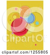 Clipart Of A Yellow Abstract Background With Colorful Circles Royalty Free Vector Illustration by BNP Design Studio