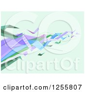 Clipart Of A Green Purple And Blue Geometric Wave Background Royalty Free Vector Illustration