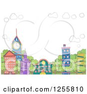 Clipart Of Colorful Eclectic Buildings And Lush Trees With Sky Text Space Royalty Free Vector Illustration by BNP Design Studio