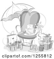 Clipart Of A Grayscale Bridal Shower Party Chair Umbrella And Gifts Royalty Free Vector Illustration
