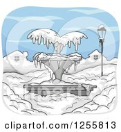 Clipart Of A Frozen Water Fountain In The Snow Royalty Free Vector Illustration