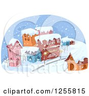 Clipart Of A Village In A Snow Storm Royalty Free Vector Illustration