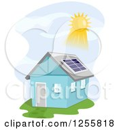 Clipart Of A Blue House With The Sun Shining On A Solar Panel Royalty Free Vector Illustration by BNP Design Studio