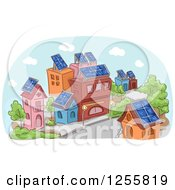 Clipart Of A Street Scene Of Buildigns With Solar Panels Royalty Free Vector Illustration