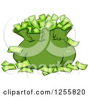 Clipart Of A Green Money Bag And Banknotes Royalty Free Vector Illustration by BNP Design Studio