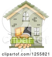 Clipart Of A Bankers Hand Holding Money Out From A House Royalty Free Vector Illustration