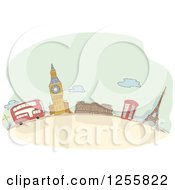Clipart Of A Sketched London Street Scene With A Double Decker Bus And Architecture Royalty Free Vector Illustration