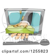 Clipart Of A Bankers Hand Holding Out Cash Money From A Computer Screen Royalty Free Vector Illustration by BNP Design Studio
