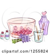 Clipart Of A Still Life Of Herbal Oils Flowers And Perfume Accessories Royalty Free Vector Illustration