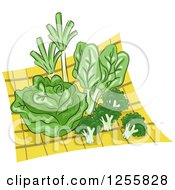 Clipart Of Green Veggies On A Yellow Cloth Royalty Free Vector Illustration