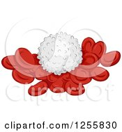Clipart Of A White Blood Cell On Red Cells Royalty Free Vector Illustration by BNP Design Studio