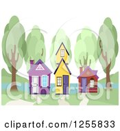 Clipart Of Three Colorful Small Houses And Trees On A Lake Royalty Free Vector Illustration by BNP Design Studio
