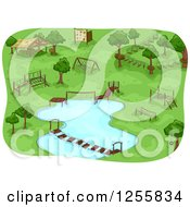 Clipart Of A Camp Obstacle Course Royalty Free Vector Illustration