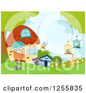 Clipart Of A Cute Cottage Or Pet Shop With Bird Cages Royalty Free Vector Illustration