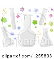 Clipart Of Bacteria And Test Tubes Royalty Free Vector Illustration