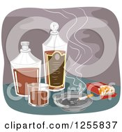 Clipart Of A Smoking Cigarette And Pack With Alcohol Royalty Free Vector Illustration