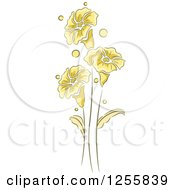 Clipart Of Yellow Flowers Leaves And Stems Royalty Free Vector Illustration